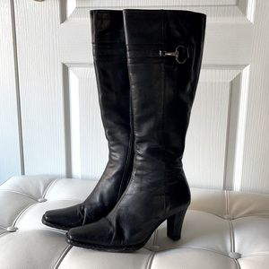 Tall Black Leather Heeled Boots